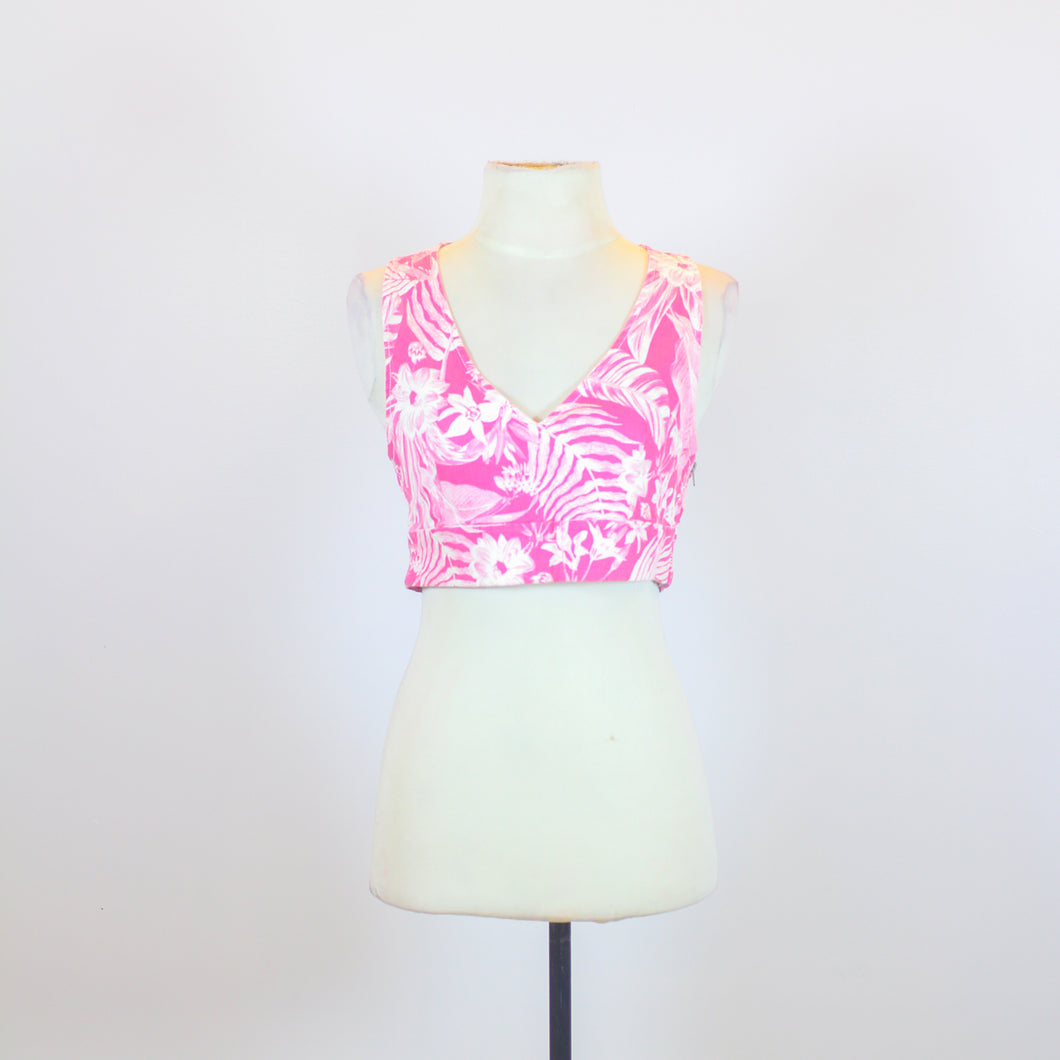N/A Pink V-Neck Crop Top with Floral Designs and Side Zipper