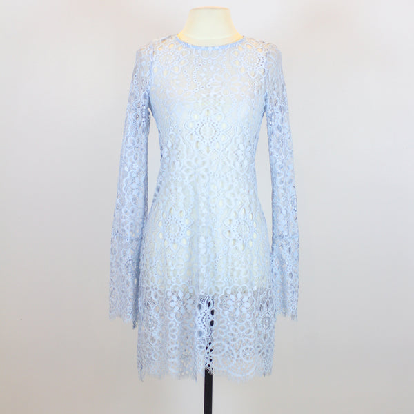 For Love & Lemons Blue Eyelet Long Sleeve Dress