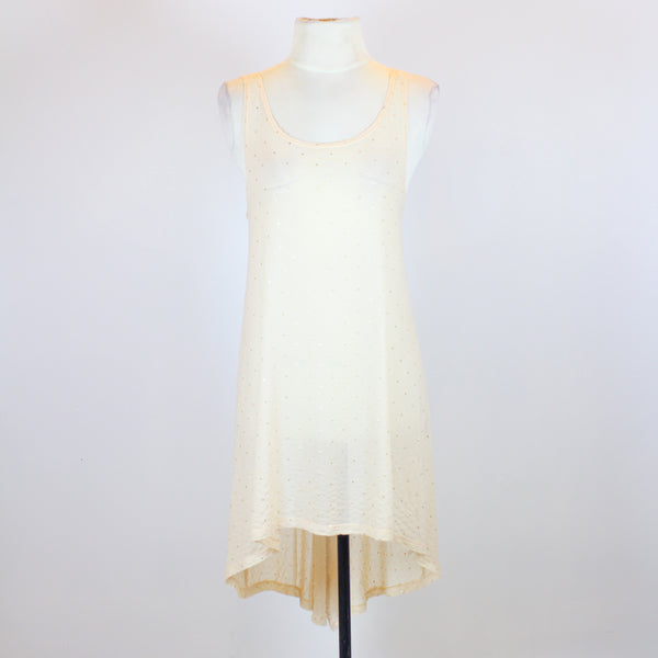 Topshop Peach Sleeveless See Through Blouse with Long Back