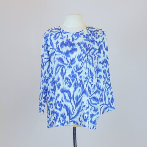 Jim Thompson White Blouse with Blue and Black Paint Design