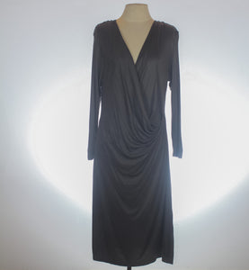 H&M Gray Draped Faux Wrap Dress