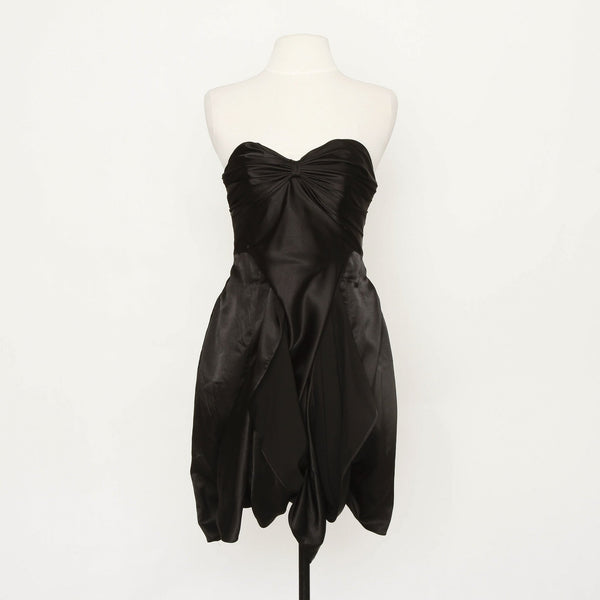 Happy Andrada Black Satin Dress