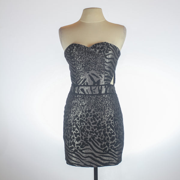 Azucar Animal Print Grey Dress