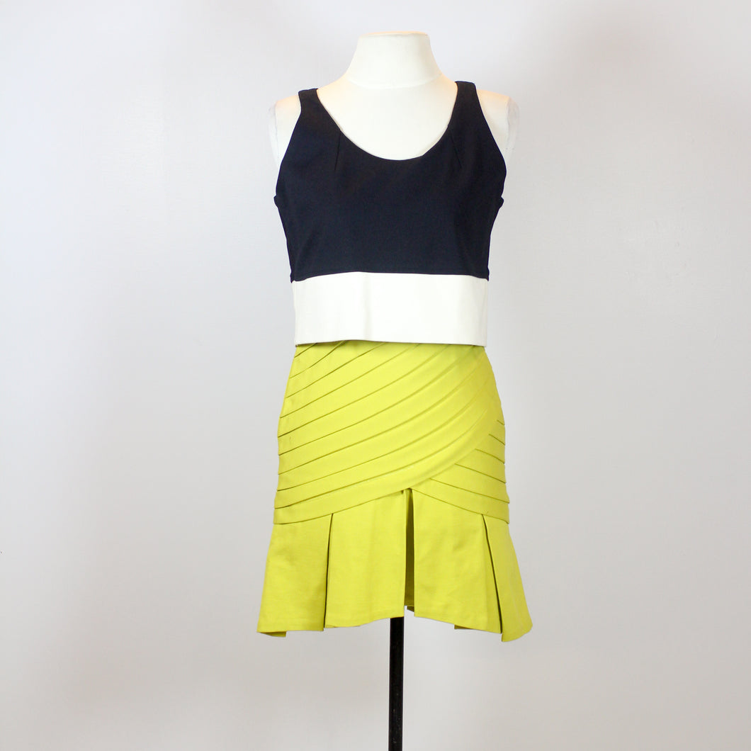 Rosanna Ocampo Black and Yellow Green Dress with Pleats