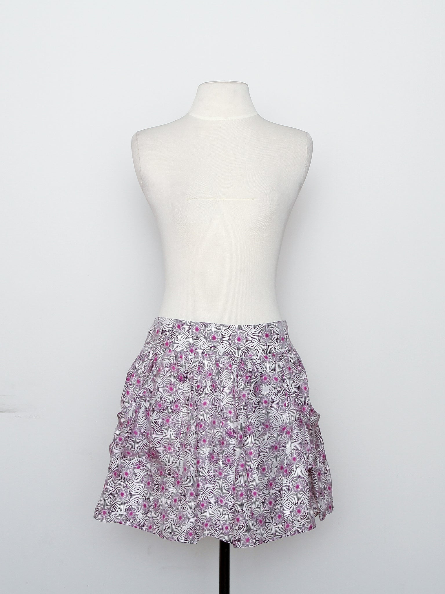 Armani Exchange Purple Circle Pleated Skirt With Pockets