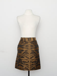DKNY Gold And Black Tiger Print Skirt