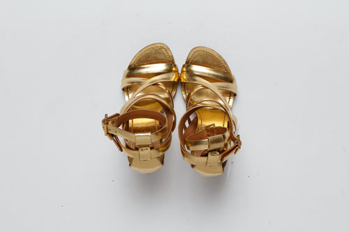 Tory Burch Gold Strappy Heel Sandal