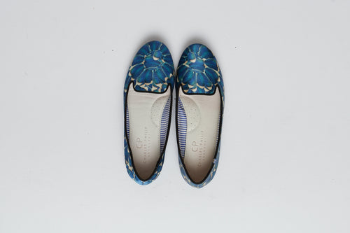 Charles Philip Blue Silk Loafer