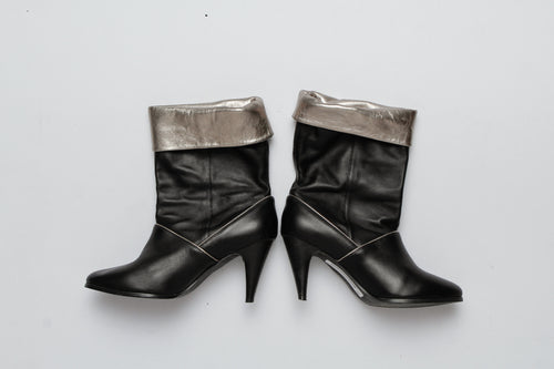 Maud Frizon Black And Silver Leather Mid Boot