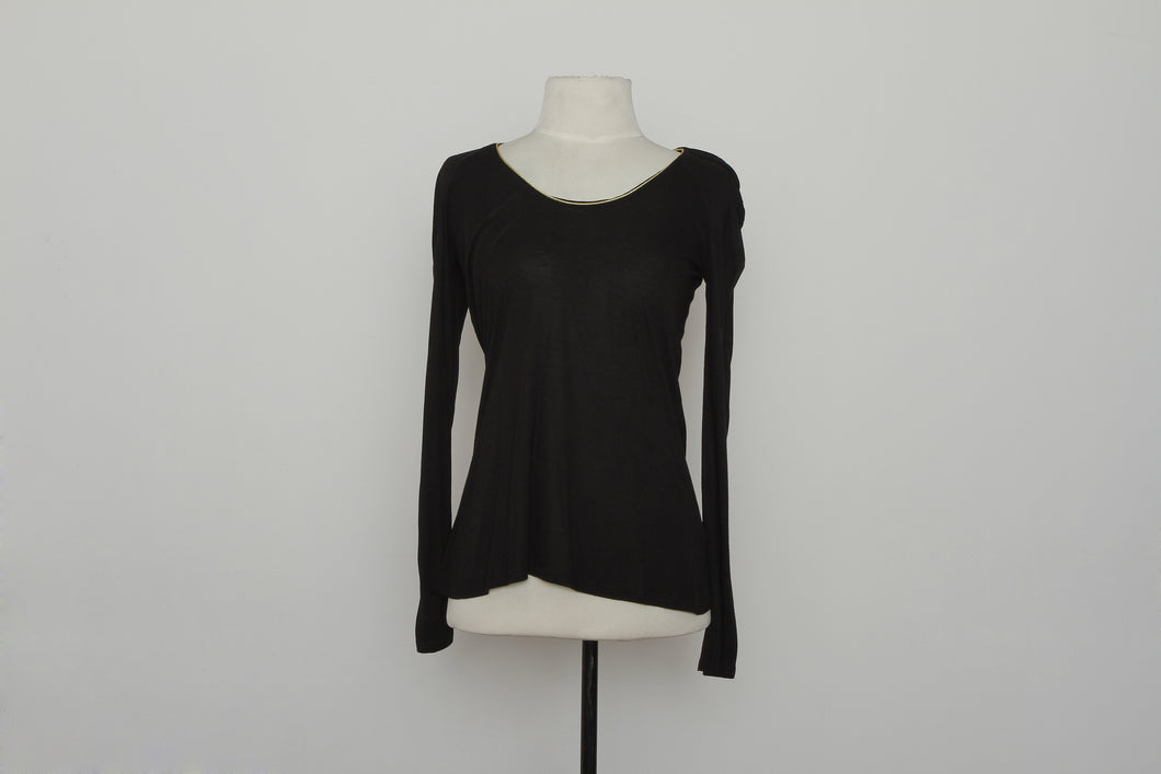 Reiss Black Longsleeve With Gold Neck Detail