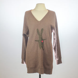 Mulberry Brown Angora V-Neck Sweater