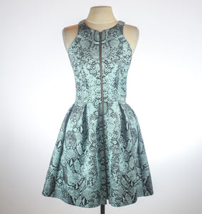 Nicholas Blue Snake Print Fit And Flair High Neck Dress