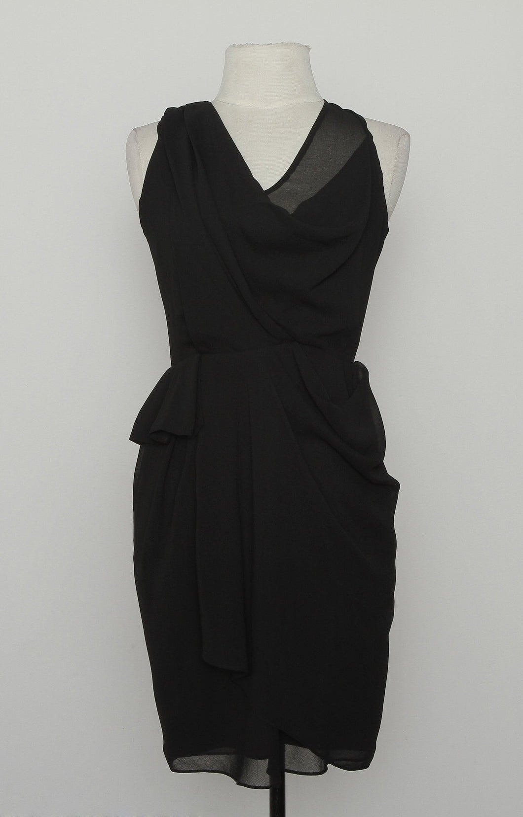 Diane Von Furstenberg Black Sheer Scoop Neck Dress With Zipper