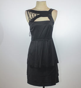 Bcbg Black High Neck Cut Out With Tie Detail