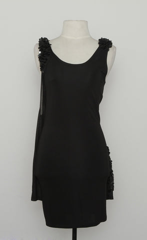 Alice + Olivia Black Scoop Neck With 3D Sequin Shoulder Detail
