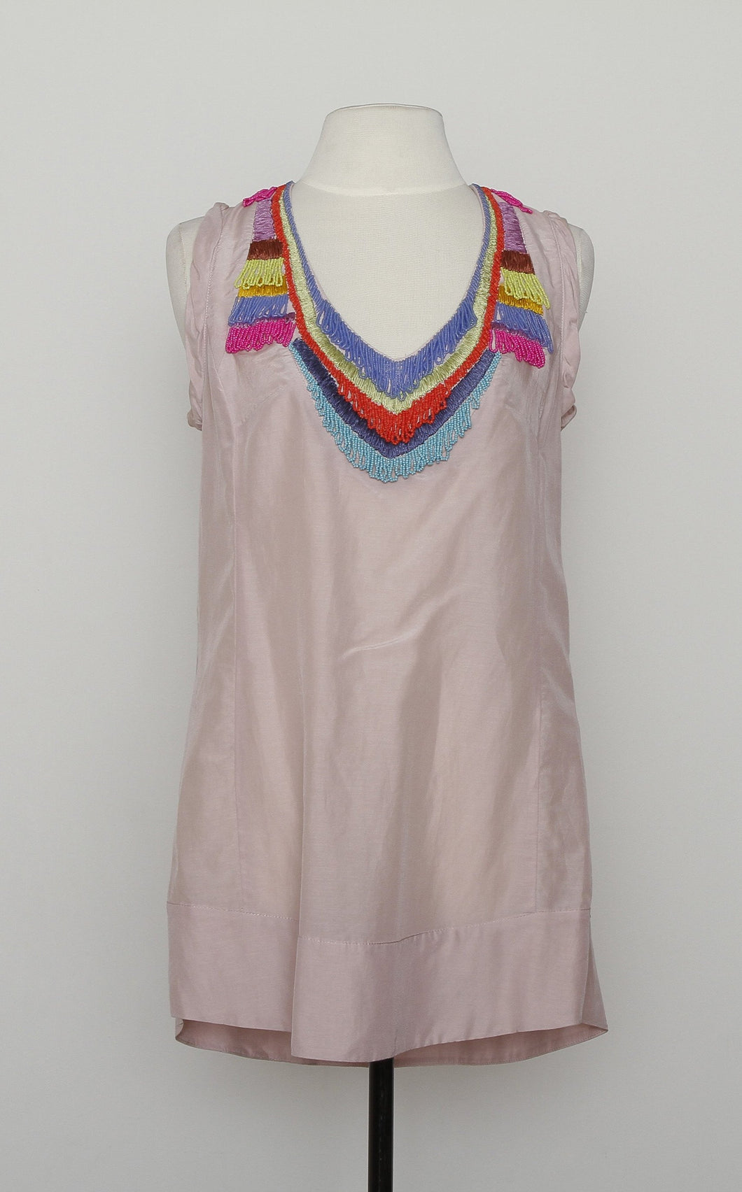 Nanette Lapore Pink Scoop Neck Beaded Cover Up