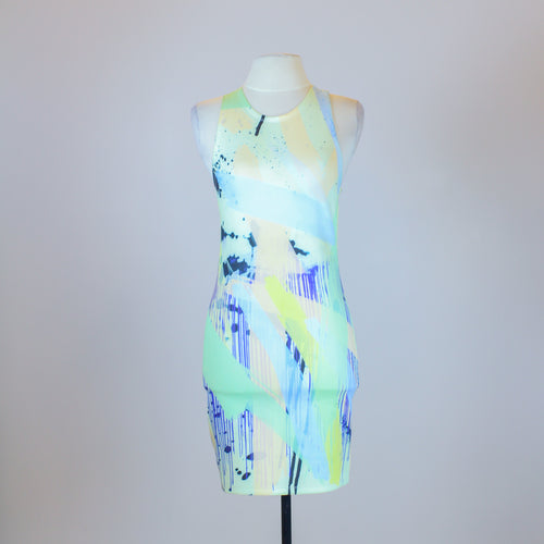 Zara Green Sleeveless Shift Dress with Racer Back and Pastel Paint Splatter Design