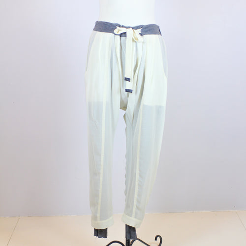 Helmut Lang White Jogger Pants with Grey inner lining