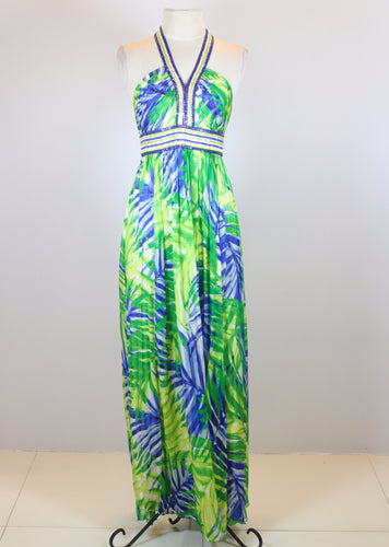 BCBG Green Maxi Halter Dress with Leaves Design and Sequins