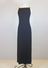 Hugo Buscati Black Slip Dress with Semi-Open Back and Sequins