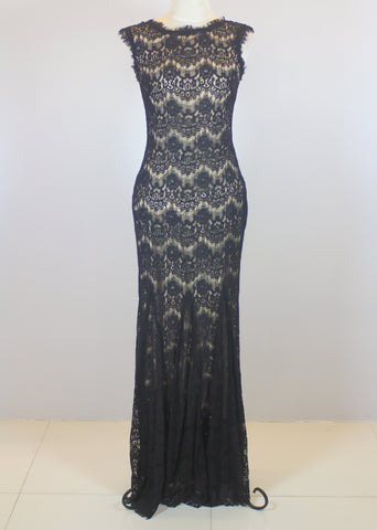 Aqua Dresses Black Lace Gown with Nude Inner Lining