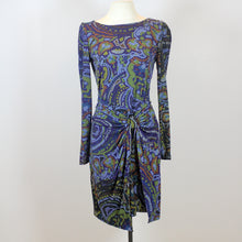 Donna Morgan Blue Long Sleeve Bodycon Dress with Colorful Patterns
