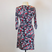 Laundry Grey 3/4 Sleeve Dress with Red Patterns