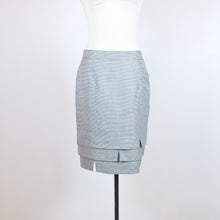 Escada Grey Checkered Pencil Skirt with Bottom Detail