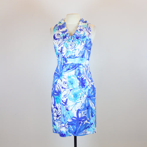 Spense Blue V-Neck Dress with Frills and Flower Designs