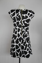 Michael Kors Black And White Cap Sleeve Fit And Flair With Enlarged Snow Leopard Print