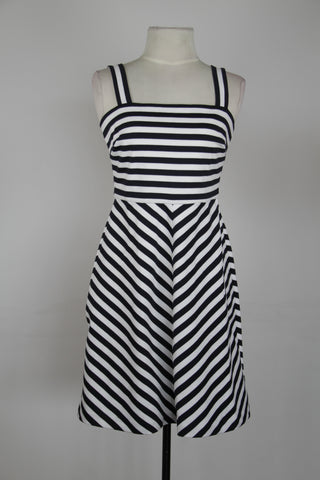 Michael Kors Blue And White Sailor Straight Neck Fit And Flair Exposed Back Zipper Dress