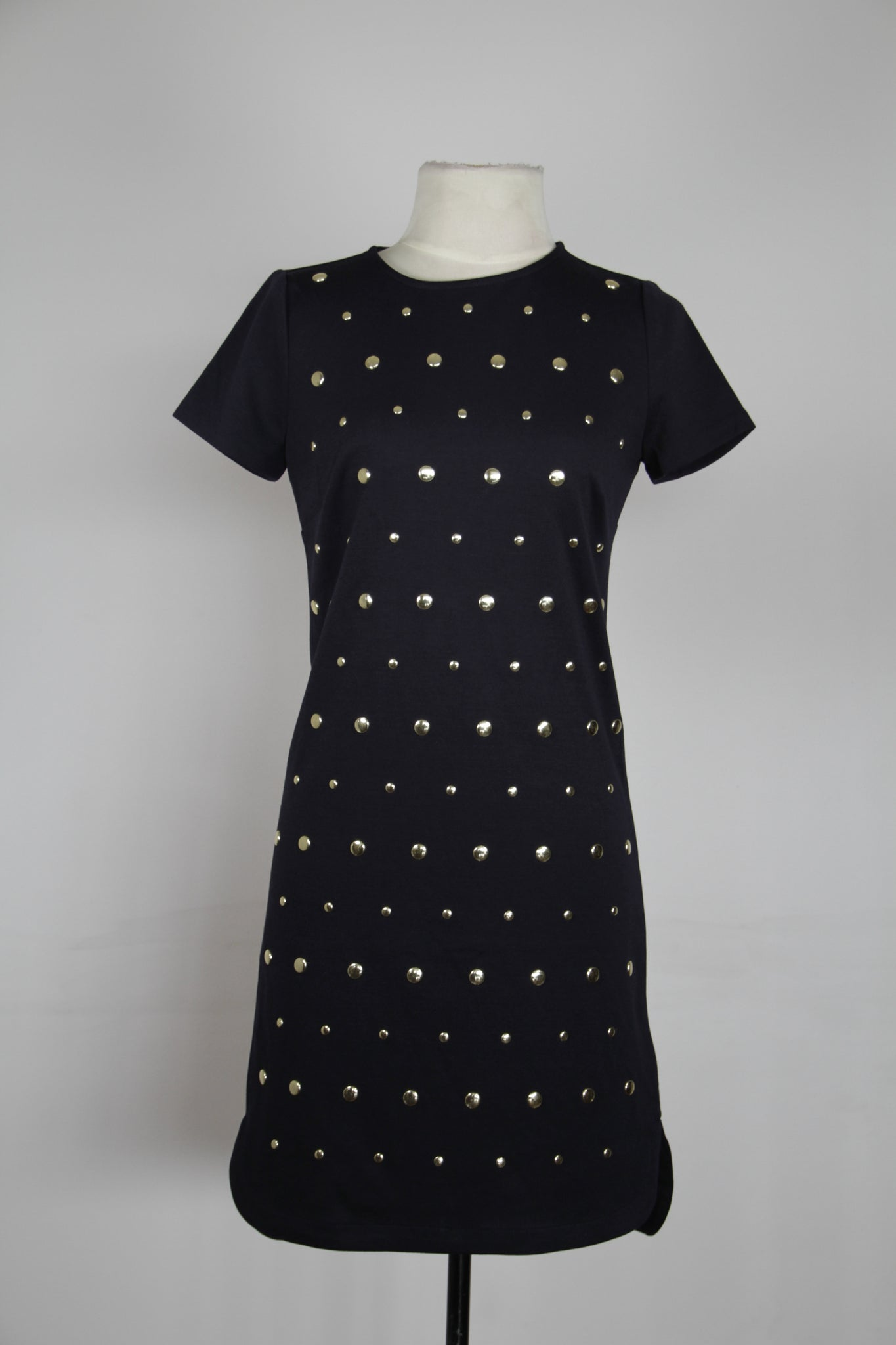 Michael Kors Black With All Over Front Gold Round Studs Shift Dress