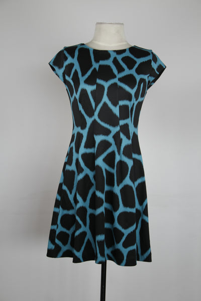 Michael Kors Black And Blue Cap Sleeve Fit And Flair With Enlarged Leopard Print