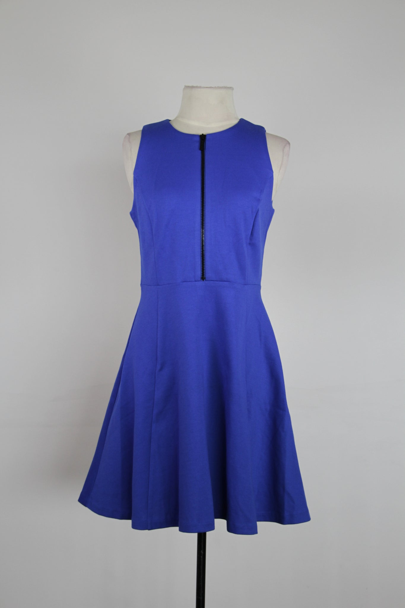 Michael Kors Royal Blue Fit And Flair With Black Front Zipper Tank Dress
