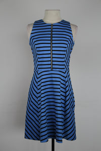 Michael Kors Black And Blue Stripe High Neck With Zipper Front Tank Dress