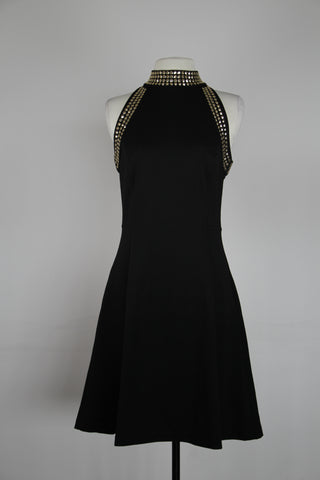 Michael Kors Black With Gold High Halter Neck Tank Dress