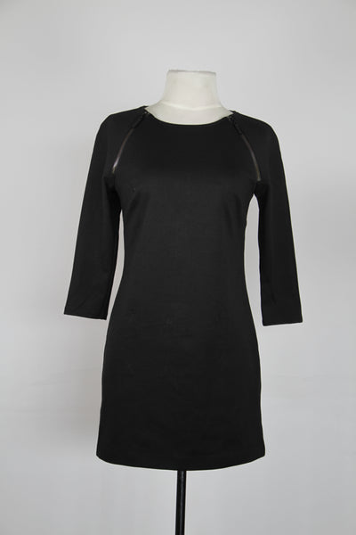 Michael Kors Black With Black Raglan Zipper Three Quarter Sleeve Shift Dress