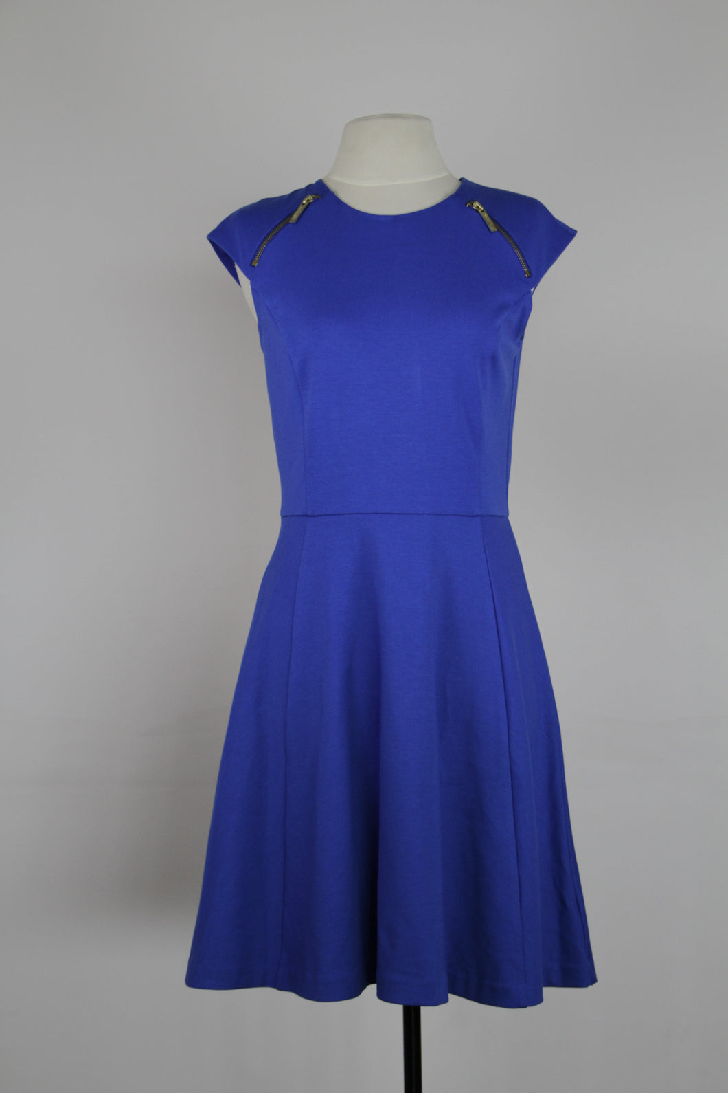 Michael Kors Royal Blue Cap Sleeve A Line With Gold Shoulder Zipper Dress