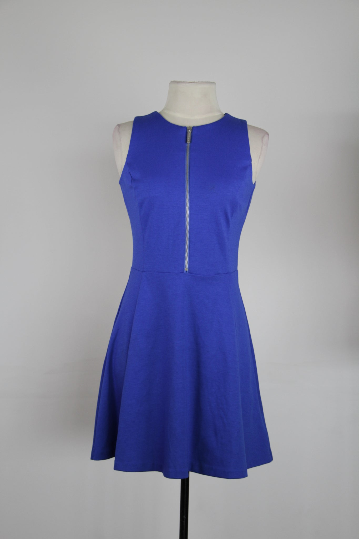 Michael Kors Royal Blue Fit And Flair With Silver Front Zipper Tank Dress
