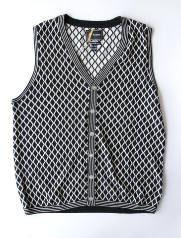 Fink Black and White Diamond Print Vest