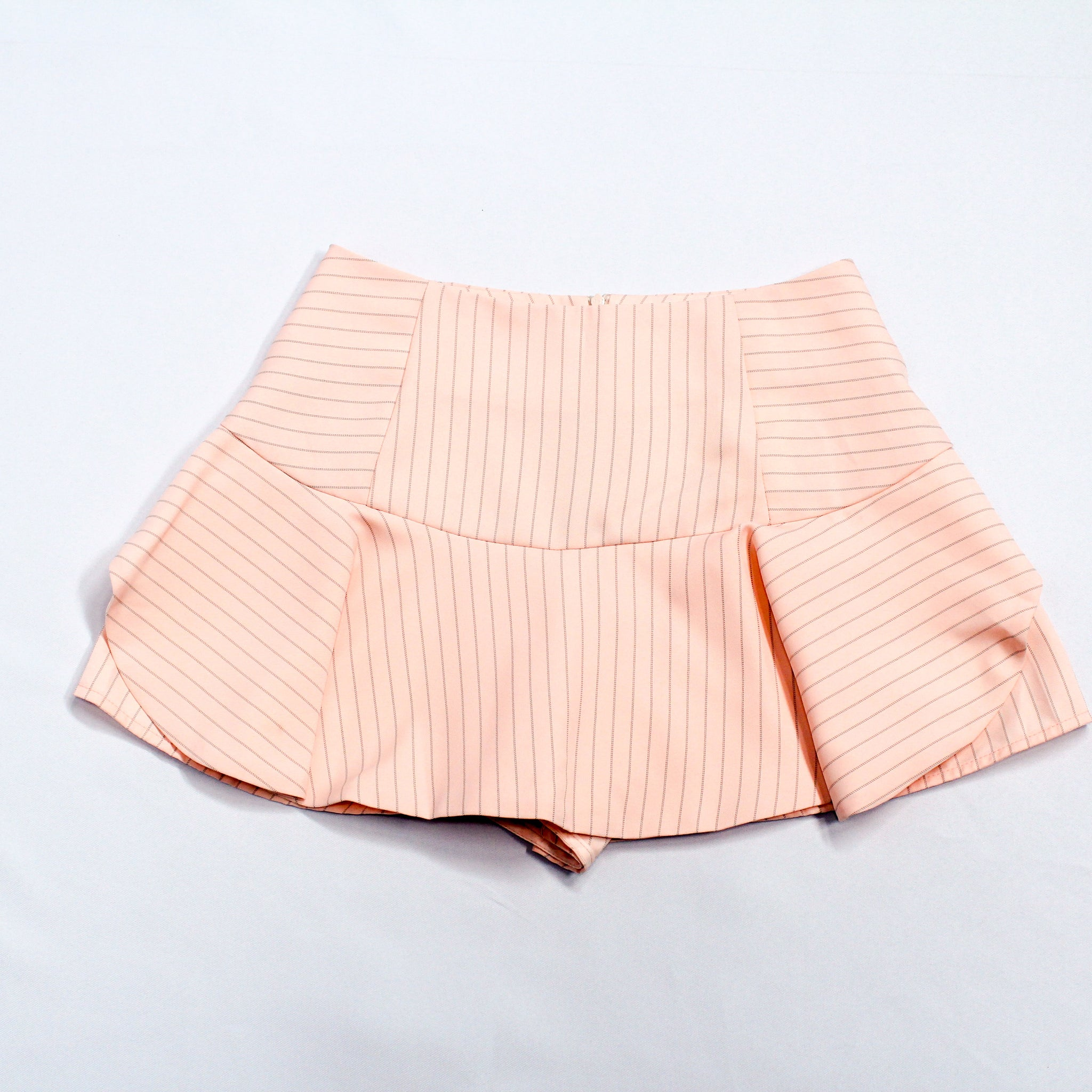 Maxqullo Pink Striped Mini Skort with Ruffles
