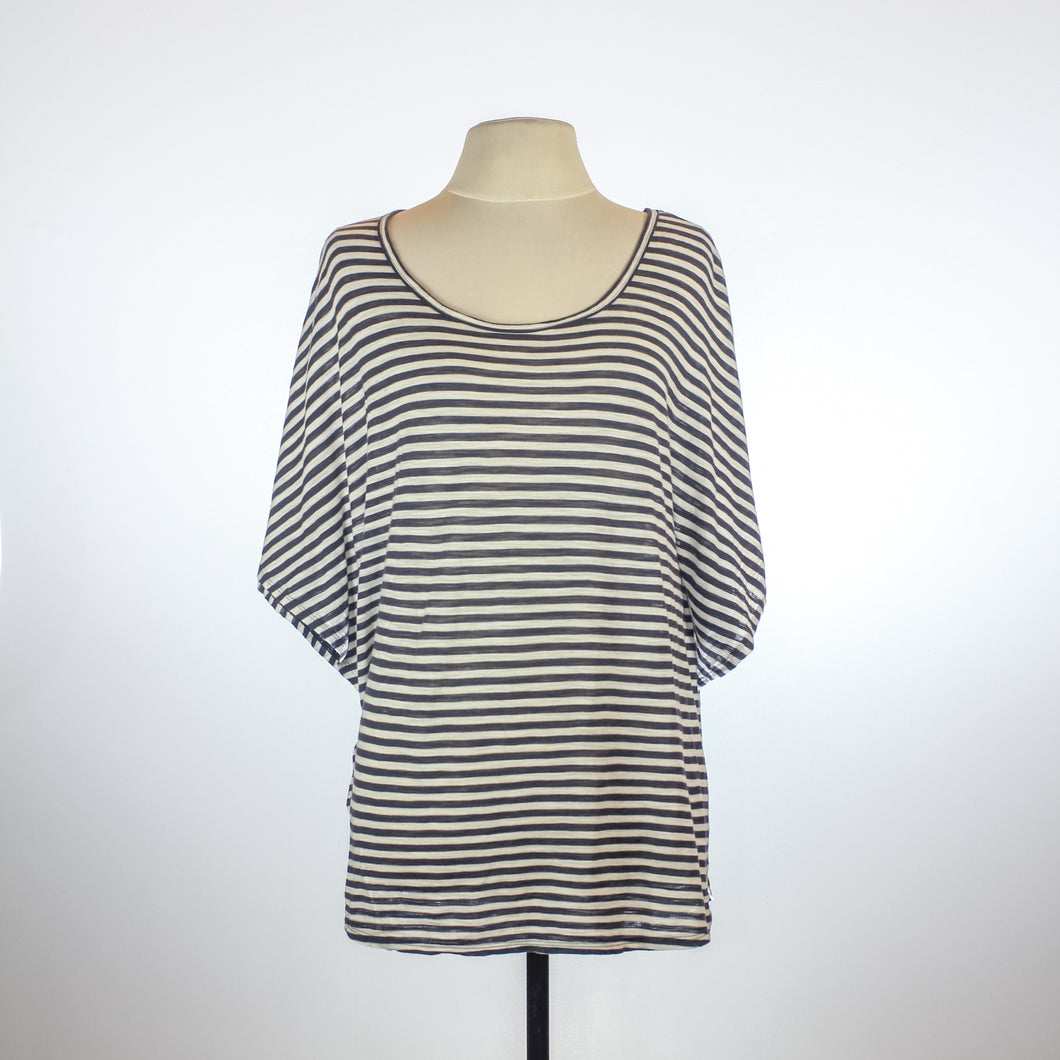 BCBG Maxazria Blue and White Stripe Poncho Shirt