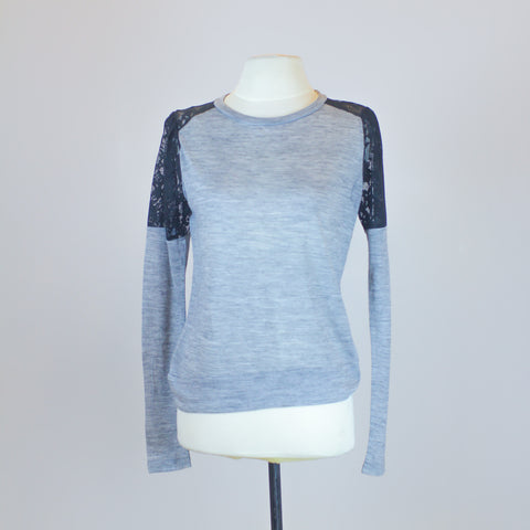 Zara Grey Sweater with Black Lace Shoulder Long Sleeve