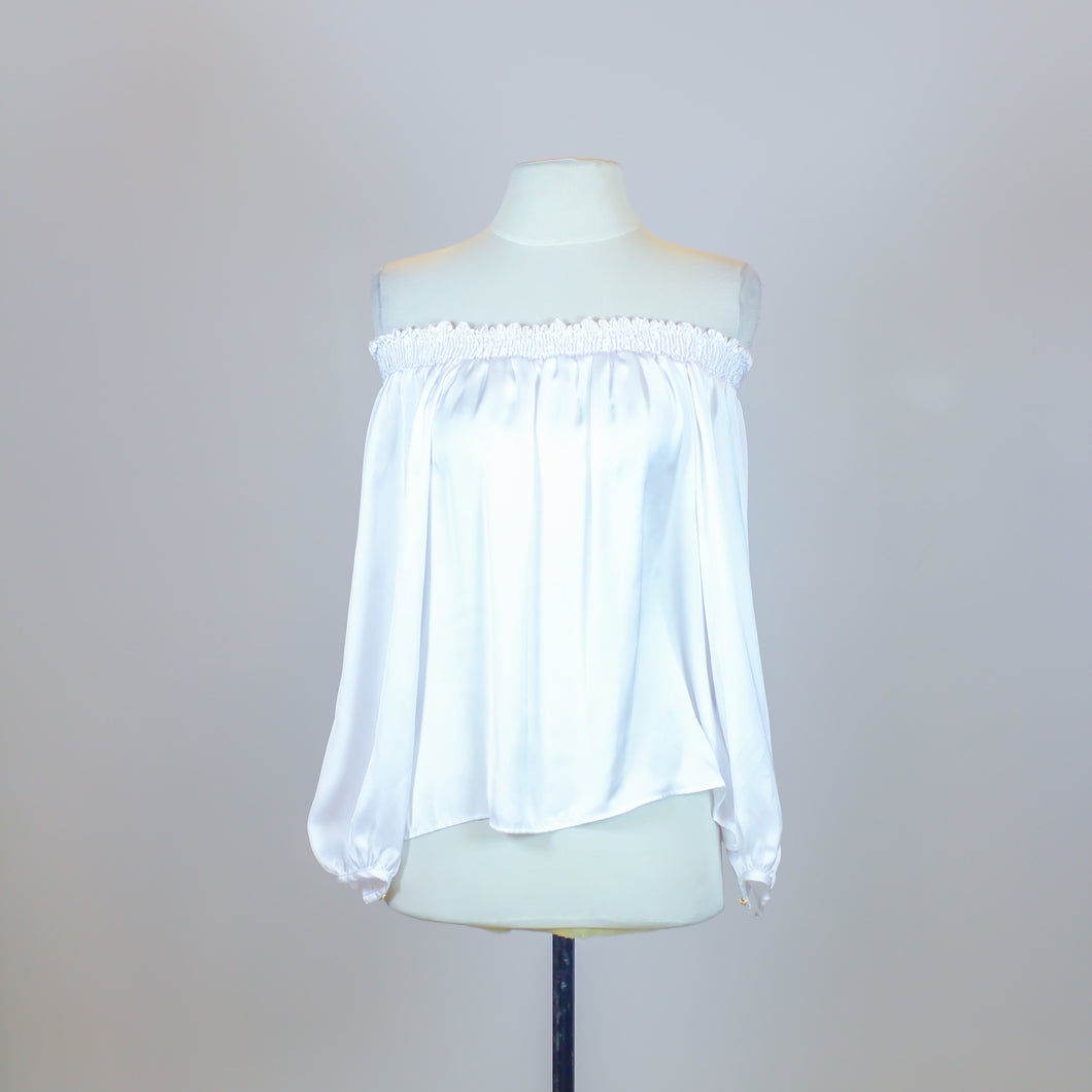 Azulu White Silky Off Shoulder Blouse