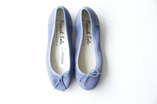 French Sole Textured Blue Ballet Flats