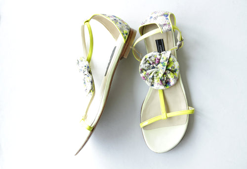 Andrew Kayla Yellow Patent and Floral Sandals