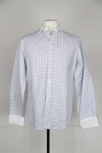 Thomas Pink White M Shirt with blue/purple stripes and collar