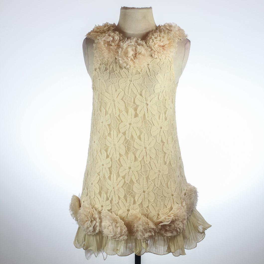 Peach Lace Dress with inner lining and flower details