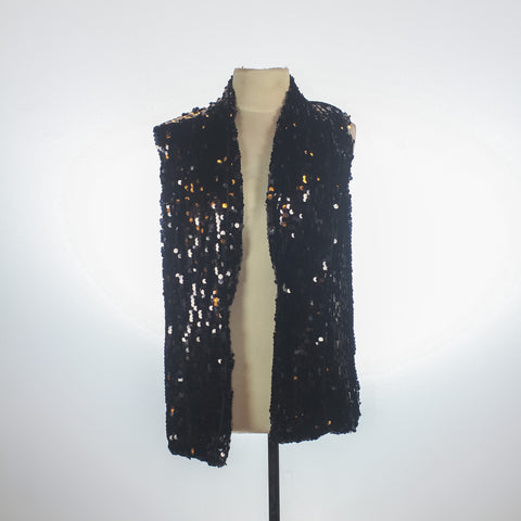 Edwin Tan Black Sequined Vest