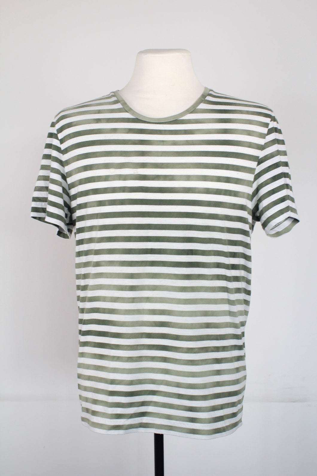 Acne Army Green Distressed Striped Tee